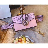 FENDI Stylish Women Snake Skin Texture Leather Purse Waist Bag Single-Shoulder Bag Crossbody Satchel Pink I-WXZ2H