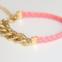 ON SALE: Christmas gift - Arm Candy - Gold chunky chain with pink leather braid Bracelet - 24k gold plated