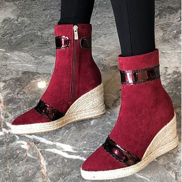 New style simple stitching zipper wedge heel pointed toe ankle boots