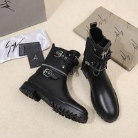 Giuseppe Zanotti GZ Trending Women Black Leather Side Zip Lace-up Ankle Boots Shoes High Boots