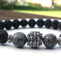 Men's Lava Rock, Men's Zebra Jasper Bracelet, Men's Bracelet, Men's Black Bracelet, Men's Jewelry, Gift for Him