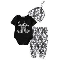 Autumn baby boy clothes born Baby Girl Boy Cotton Romper +Pants +Hat Outfits Toddler Clothes Set