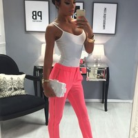 Costanza Coral Lightweight Side Zip Trousers | Pink Boutique