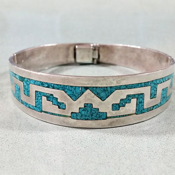 Vintage Taxco Silver Turquoise Bracelet Southwestern Design Turquoise Inlay Chip Round Wide Hinged Bangle Not Perfect but Perfectly Striking