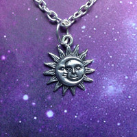 Sun and Moon necklace, earrings, ring set