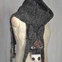 Dark gray donkey — VERY LONG scarf, animal scarf, burro, original scarf, winter accessory, warm scarf