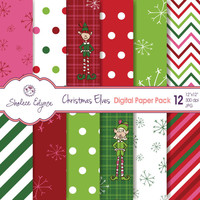 Christmas Elves Digital Paper Pack, 12x12 Instant Download for Cards, Invitations, Scrapbooking