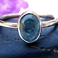 white gold ring aquamarine engagement ring solid gold, yellow gold aquamarine ring, fine aquamarine cabochon ring white gold, gift for her