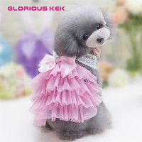 2017 New Dog Dress Summer Pet Dog Clothes Pleated Tulle Lace Girl Dog Bubble Skirt Cute Puppy Bow Tutu Pink Blue Dog Clothing