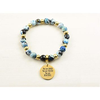 Genuine Blue Agate Inspirational Bracelet
