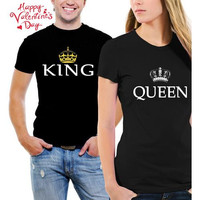Couple T-Shirts - King & Queen Matching His and Her Black T-Shirts