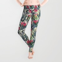 Painted Protea Pattern Leggings by Micklyn