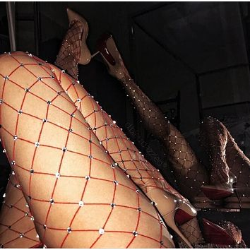 Hot Sale Classic Stylish Women Sexy Fishnet Tights Net Crystal Diamond Bling Hosiery Body Stocking Pantyhose(5-Color) Red I/A