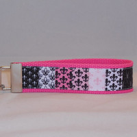 Keychain Wristlet Made With Fleur-De-Lis Inspired Ribbon