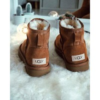 """""""UGG"""" Winter Popular Women Ankle Wool Warm Snow Boots Brown I/A"""