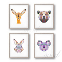 Triangle Animal Set Canvas Art Print Painting Poster,  Wall Pictures for Home Decoration, Home Decor FA386