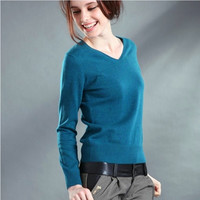 New 2016 Autumn-Spring Fashion Women Sexy V-neck Knit candy color Sweater Outerwear Pullover Tops Knitted Cashmere Sweater Women