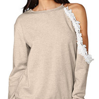 Lace Accent Shoulder Cutout Long Sleeve Sweatshirt