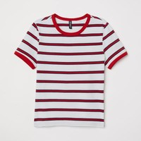 Short Jersey Top - White/red striped - Ladies | H&M US