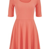 Patterned Elbow Length Sleeve Dress - Light Coral