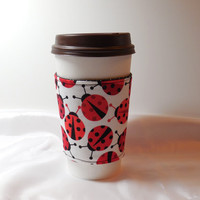 Slip-On Coffee Cozy Made With Ladybug Fabric