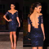 Dark Blue V-Neck Backless Mesh and Floral Lace Mini Dress