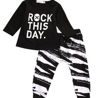 "Long Sleeve Letter ""rock this day"" T-shirt+Leggings"