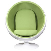 LexMod Eero Aarnio Style Ball Chair in Green