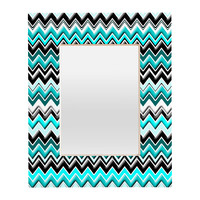 Madart Inc. Turquoise Black White Chevron Rectangular Mirror