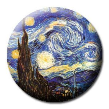 "STARRY NIGHT VINCENT VAN GOGH Art Pinback Button 1.25"" Pin / Badge"