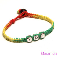 Triathlon Bracelet, Rasta Hemp Cord, Tri Jewelry, Swim Bike Run, Race Day Gift, Macrame Accessor, Gifts for Her