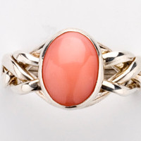 Sterling Silver/Pink Coral 4-band Puzzle Ring