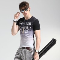 Short Sleeve Print Cotton Men's Fashion Men's Round-neck Casual Summer T-shirts = 6450235971