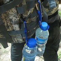 Carabiner Water Bottle Holder for Camping Hiking w/ Aluminum Rubber Buckle Hook
