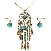 Bohemian Turquoise Feather Dreamcatcher Jewelry Set