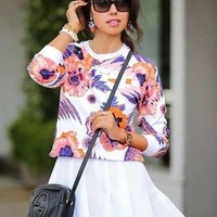 SIMPLE - Floral Printed Round Necked Outerwear Jacket a12324