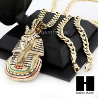 MENS LARGE EGYPTIAN KING-TUT PENDANT & DIAMOND CUT CUBAN LINK CHAIN NECKLACE N59