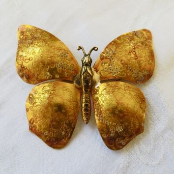 Vintage Butterfly Brooch Handmade Enamel Butterfly Pin Textured Enamel Made in Germany Insect Jewelry