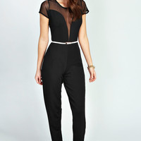 Erin Mesh Insert Capped Sleeve Belted Jumpsuit