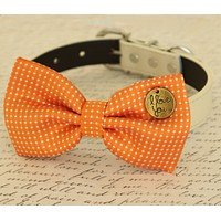 Orange Dog Bow tie attached to dog collar, Pet wedding accessory , Wedding dog collar