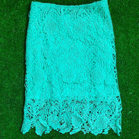 STAY CLASSY LACE PENCIL SKIRT IN TEAL