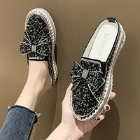 Fashion Espadrilles Shoes Woman Leather Creepers Flats Ladies Loafers Crystal Loafers