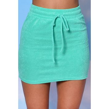 Life Of Leisure LUX Terry Drawstring Skirt - Kelly Green