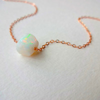 Rough Opal Pendant & 925 Sterling Silver; Oxidized Sterling Silver; Rose Gold Fill; 14k Gold Fill Chain Necklace