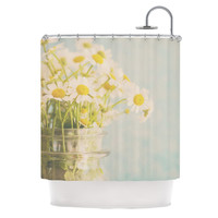 "Laura Evans ""O Daisy"" Green Yellow Shower Curtain"