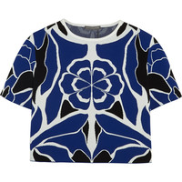 Alexander McQueen - Cropped floral stretch-jacquard top