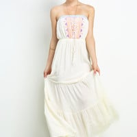 Embroidery Strapless Dress