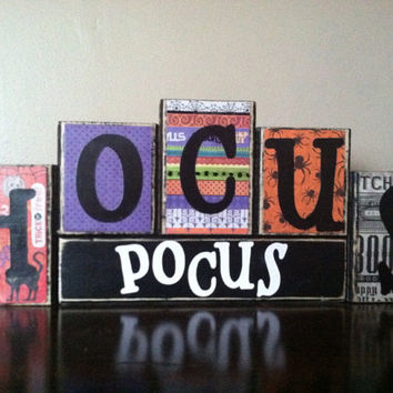 Halloween Decor / Halloween sign/ Wood hocus pocus Blocks - Wood Halloween blocks / fall home decor