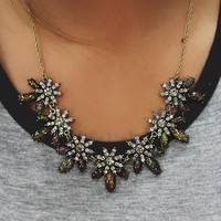 Onyx Daisies Necklace