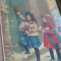 Old Fashioned Christmas Picture; 2 Girls at Doorway with Gifts & Wreath; Framed Frances Brundage Art; Evocative Wintertime Scene